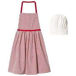 Christmas Kids Stripe Apron with Hat Red/White