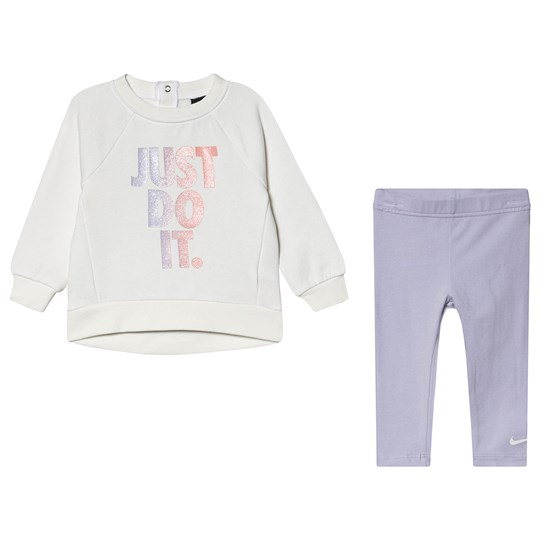 NIKE Glitter Just Do It Sweatshirt & Legging Set White P5R