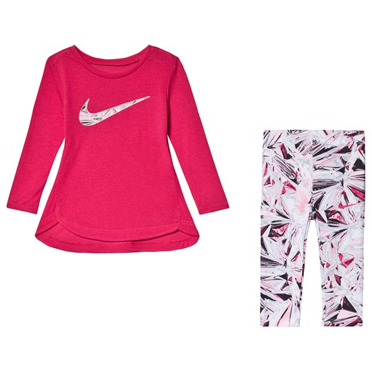 NIKE Long Sleeve T-Shirt & Mylar Swirl Leggings Set Pink 023