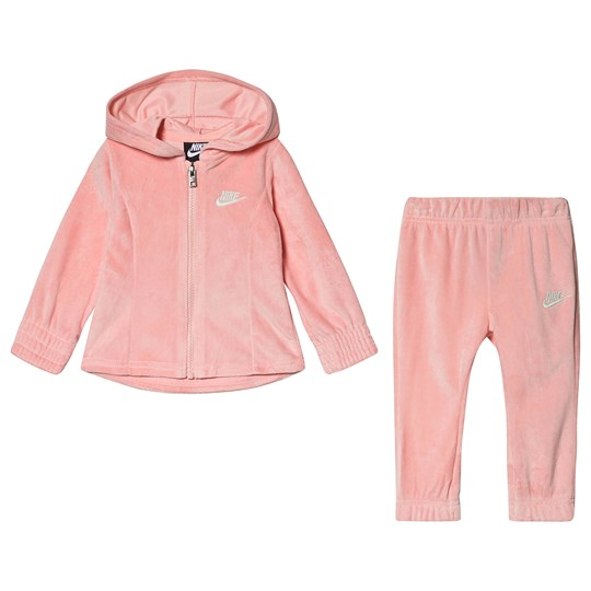 NIKE Velour Hoodie & Bottom Set Pink A6P