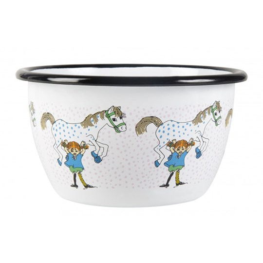 Muurla Pippi Bowl Pippi And The Horse 600 ml white with pink spots