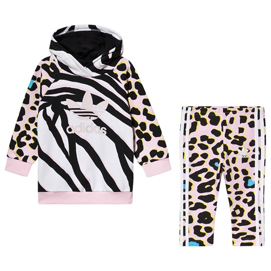 adidas Originals Black Animal Print Trefoil Logo Hoodie & Bottom Infants Set MULTICOLOR/clear pink/black