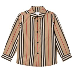 Burberry Icon Stripe Poplin Skjorta Archive Beige