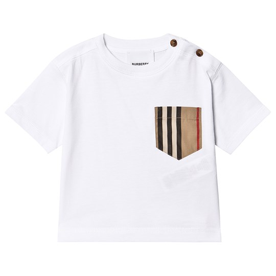 Burberry Icon Stripe Pocket Infant T-Shirt White and Archive Beige A1464