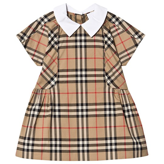 Burberry Contrast Collar Vintage Check Dress Archive Beige A7028