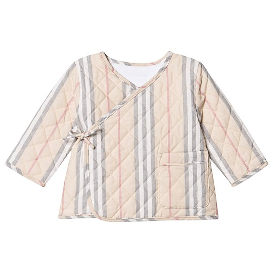 Burberry Quilted Icon Stripe Wrap Jacket Pale Stone A8073