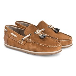 Mayoral Brown Leather Moccasins with Tassle Detail