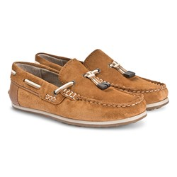 Mayoral Leather Moccasins with Tassle Detail Brown