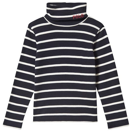Ralph Lauren Polo Long Sleeve Tee Navy and White 001
