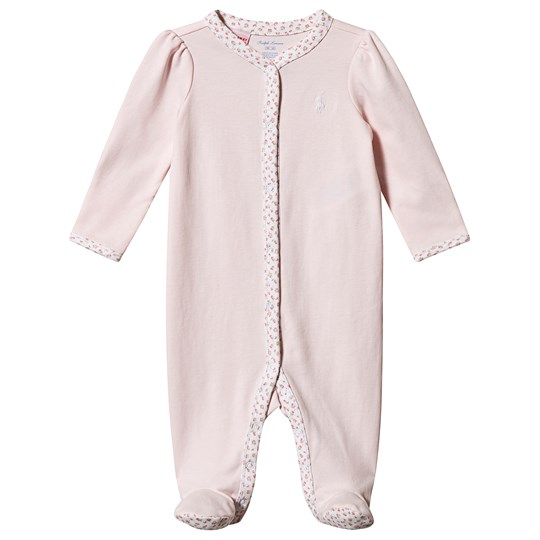 Ralph Lauren Logo Footed Baby Body Pink Delicate Pink