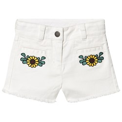 Stella McCartney Kids Floral Embroidered Jeansshorts Vit
