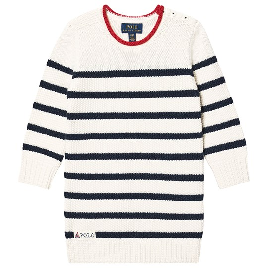 Ralph Lauren Stripe Sweater Dress White 001