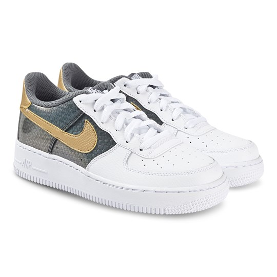 NIKE Air Force 1 Joggesko Hvit, Metallisk Gull og Antrasitt 100