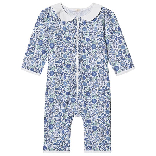 IA BON Stella Baby One-Piece Rashguard Swimsuit Blue/Liberty Floral Blue Liberty Floral