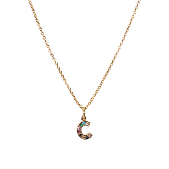 IA BON Initial Pendant Necklace Gold - C Gold Multi