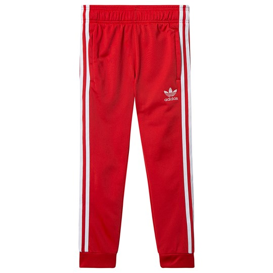 White Adidas Pants With Red Stripes