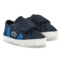 Lacoste Sideline Crib Shoes Navy and Blue