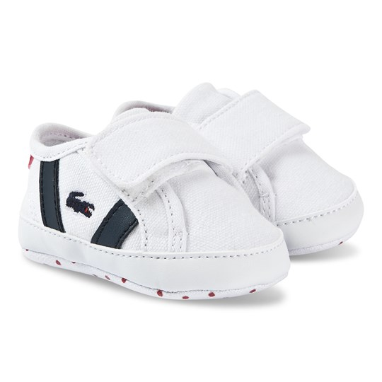 Lacoste Sideline Crib Shoes White and Navy 407