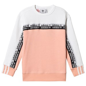 Image of adidas Originals Pink og Hvid Colour Block Dobbelt Logo Crew Sweatshirt 13-14 years (164 cm) (1506451)
