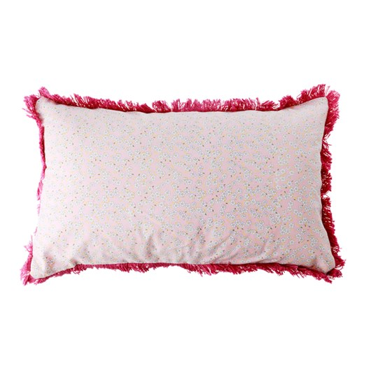 Rice Rectangular Cushion Pink Small Flowers Pink with dark pink