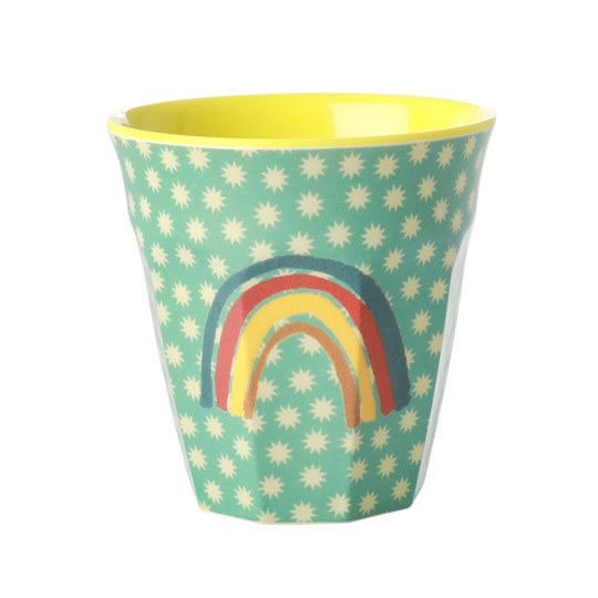 Rice Melamin Medium Mugg Rainbow and Stars GREEN/YELLOW