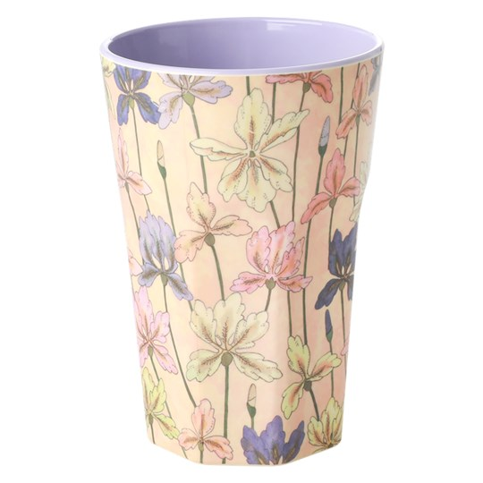 Rice Tall Melamine Cup Iris Print Pink/purple with flowers