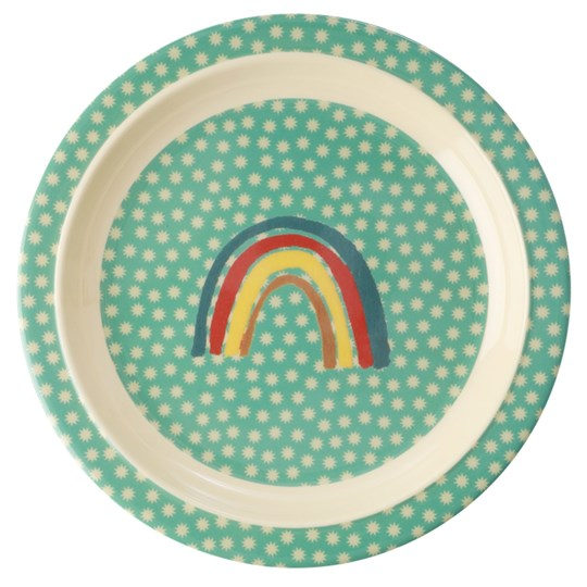 Rice Melamine Lunch Plate Rainbow and Stars Print GREEN/YELLOW