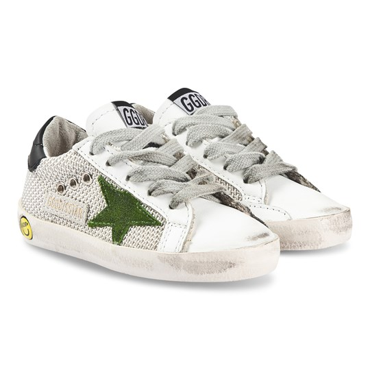 Golden Goose Superstar Sneakers Silver Mesh SILVER MESH- LIME SUEDE STAR