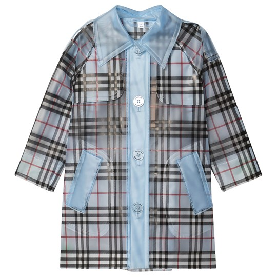 Burberry Check Trench Coat Pale Blue A1397