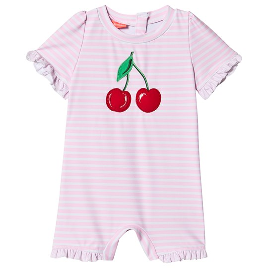 Sunuva Cherries Rash Guard Bodysuit Pink Stripe Pink