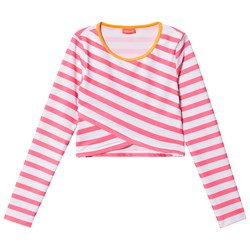 Sunuva Stripe Cropped Rash Top Pink