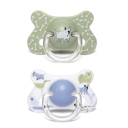 Suavinex 2-Pack Fusion Anatomical Latex Pacifiers 18m Dogs/Green