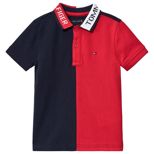 Tommy Hilfiger Logo Colorblock Polo Navy and Red XA9