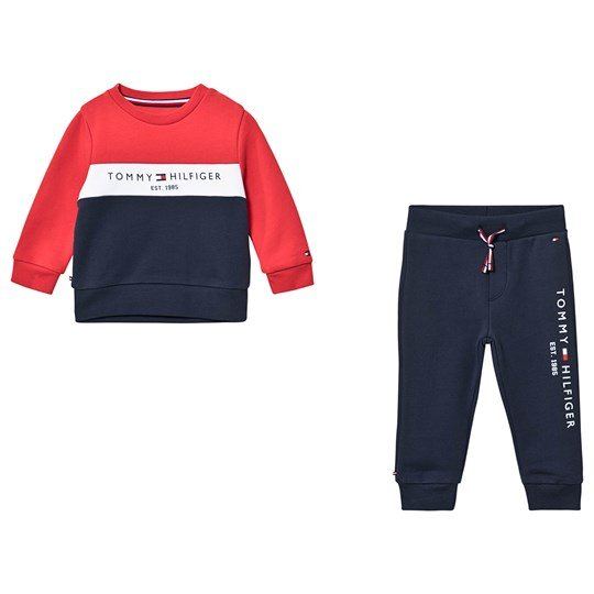 Tommy Hilfiger Logo Sweat Suit Navy and Red CBK
