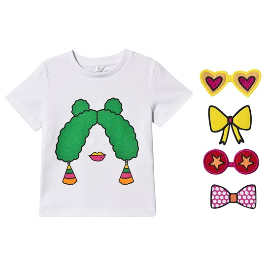 Stella McCartney Kids Girl Funny Face Velcro Patch T-shirt White 9082