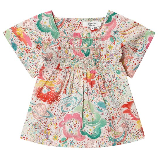 Bonpoint Constellation Liberty Print Smocked Blouse 680