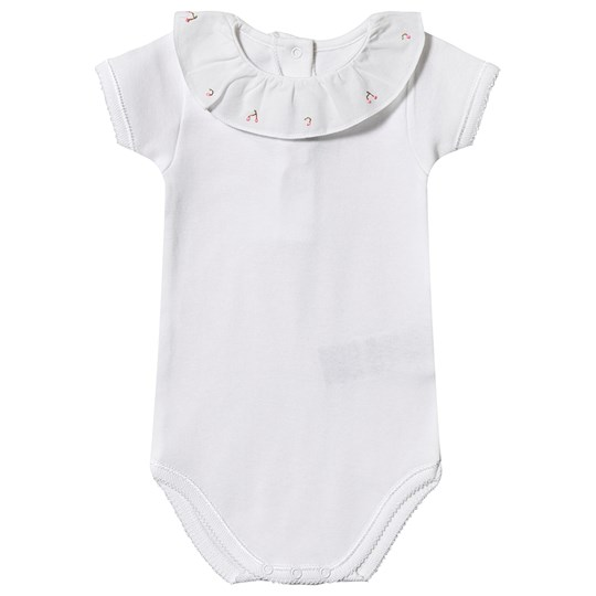 Bonpoint Embroidered Ruffle Collar Baby Body White 128A