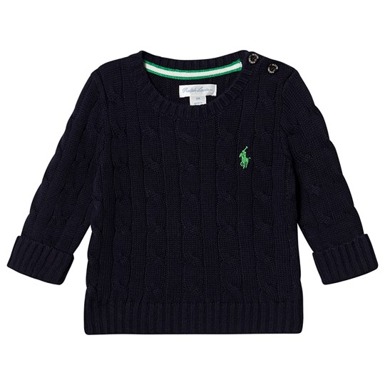 Ralph Lauren Logo Cable Knit Baby Sweater Navy 006