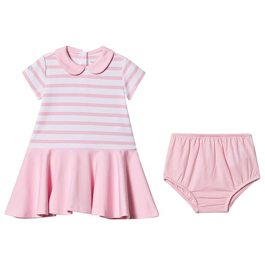Ralph Lauren Striped Ponte Collared Dress Pink/White 003