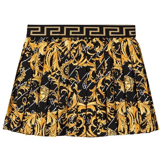 Versace Baroque Pleated Nederdel Sort A7008