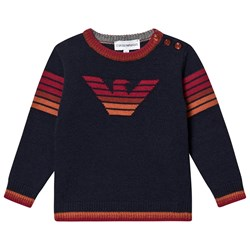 Emporio Armani Eagle Logo Knit Sweater Navy
