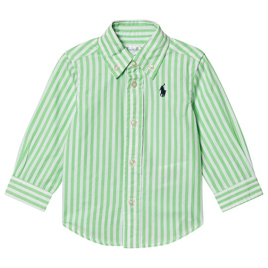 Ralph Lauren Poplin Shirt Lime/White Stripe 003