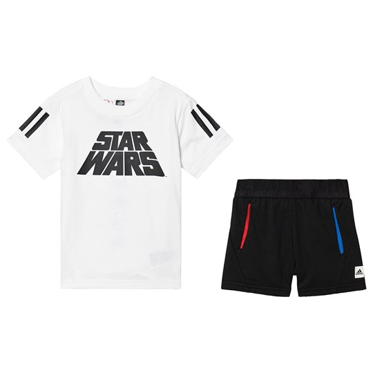 adidas Performance Star Wars Top & Shorts Set White/Black Top:white/black Bottom:BLACK