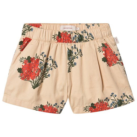 Tinycottons Flowers Pleated Shorts Cappuccino/Red Cappuccino/Red