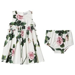 Dolce & Gabbana Tropical Rose Smocked Baby Dress White
