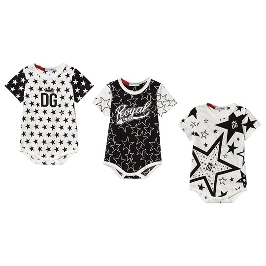 Dolce & Gabbana 3-Pack Millennials Star Baby Bodies Black/White S9000