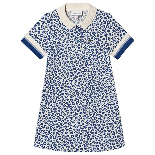 Lacoste Leopard Branded Pique Polo Dress Blue X7Y