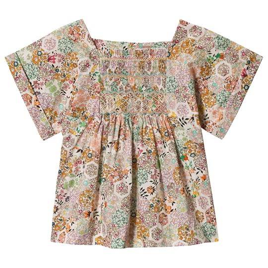 Bonpoint Multi Floral Liberty Print Smocked Blouse 535