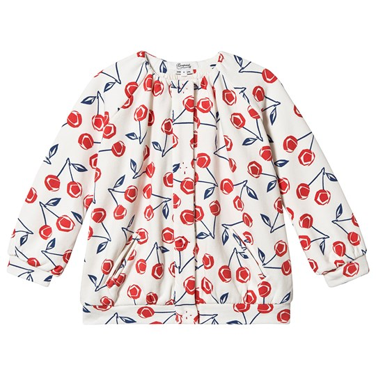 Bonpoint Cherry Print Slouch Bomber Jacket White 602A