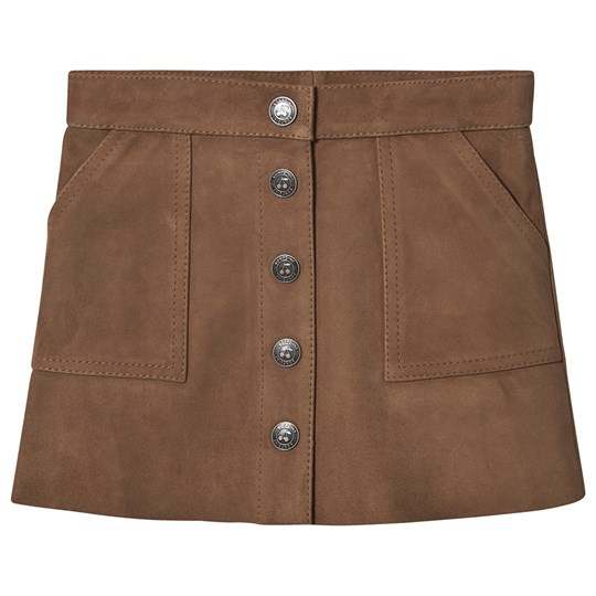 Bonpoint Suede Button Up Skirt Brown 061